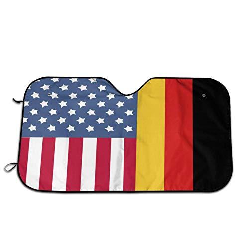 De vlag van de VS en Duitsland auto voorraam zonnescherm voorruit zonnescherm venster voorruit cover universele fit auto UV Ray zon en warmte vizier bescherming (27.5 X 51 Inch)