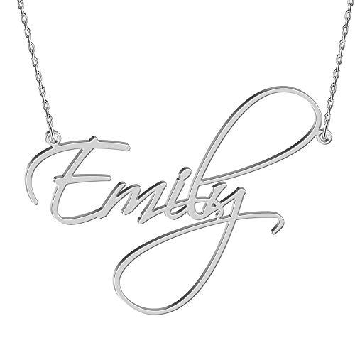 JOELLE JEWELRY Namenskette 925 Sterling Silber - Personalisiert mit Ihrem eigenen Namen, beliebiger Name für Damen Valentines Day Damen Schmuck