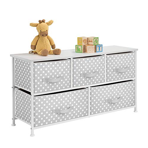 mDesign 5-Drawer Dresser Storage Unit - Sturdy Steel Frame, Wood Top and Easy Pull Fabric Bins in 2 Sizes - Multi-Bin Organizer for Child/Kids Bedroom or Nursery - Light Gray with White Polka Dots