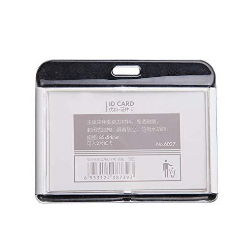 Tarjetero para tarjeta de identificación con correa para el cuello, soporte para tarjeta de identificación, cara abierta, 6 unidades, horizontal, color White Horizontal