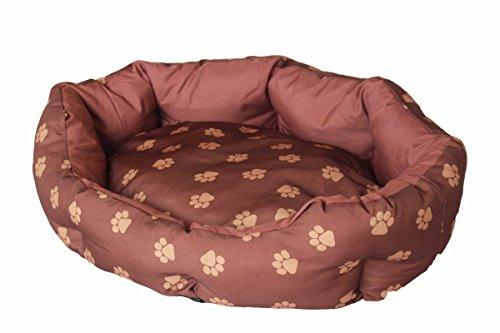 Duscher Landhaus Hundebett Hundekörbchen Mary mit Pfotendruck - verschiedene Größen/Farben (M, caramel)