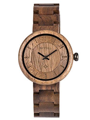 Alienwork Damen Herren Armbanduhr Quarz schwarz mit Holz-Armband Holzuhr Natur-Holz