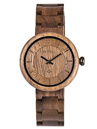 Alienwork Armbanduhr Herren Damen schwarz Holz-Armband Holzuhr Natur-Holz