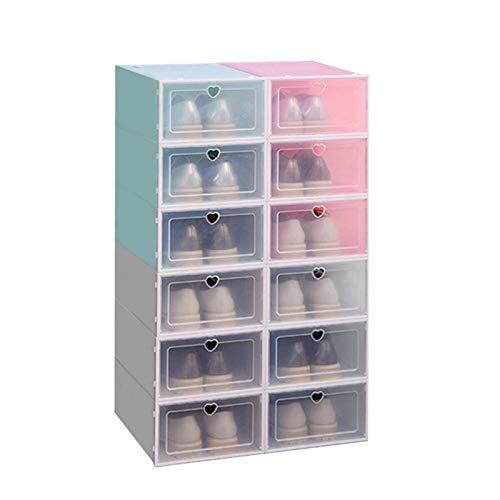 Maoviwq Caja de zapatos 4 unidades, apilable, plegable, de plástico, transparente, organiza para zapatos de mujer (tamaño: 31 x 21 x 12 cm, color: azul)