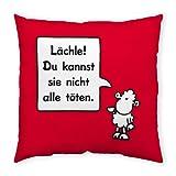 Sheepworld 42667 Sofa Spruch Lächle, 40 cm x 40 cm, rot Zier-Kissen