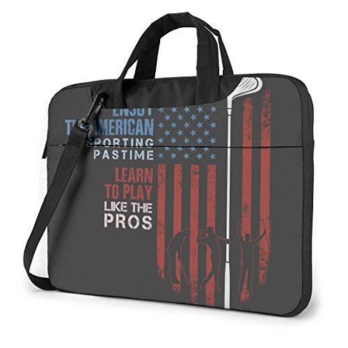 American The Red Line Flag mit Golfspieler 15.6 in Laptoptasche Notebook Computer Schutzhülle Handtasche Umhängetasche
