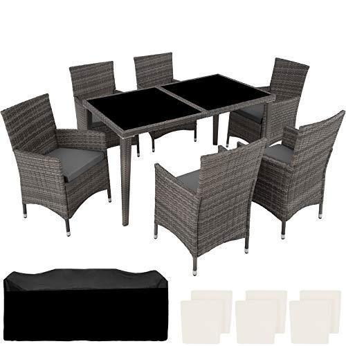 TecTake 403080 - Conjunto Muebles de Jardín en Poly Ratan Aluminio 6+1 + 2 Set de Fundas Intercambiables, Incluida la Cubierta Protectora, Gris