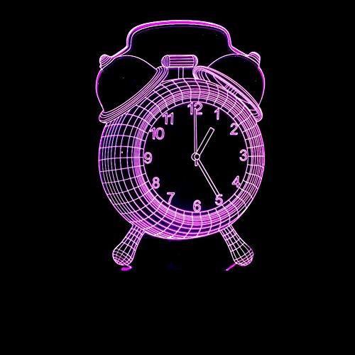 LIkaxyd LED 3D-nachtlampje, optische illusielamp 7 kleuren veranderen, Touch USB & batterij-aangedreven speelgoed decoratieve lamp, beste cadeau voor kinderen-Wekker