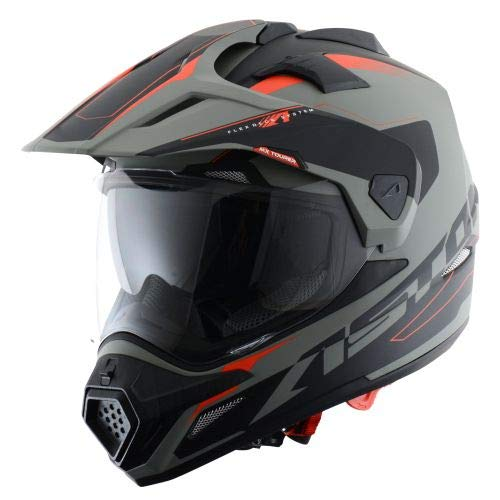 Astone Helmets - CROSS TOURER GRAPHIC ADVENTURE - Casque de motocross homologué en polycarbonate - Casque intégral polyvalent, 3 en 1 enduro route et trail - Matt grey/black XXL