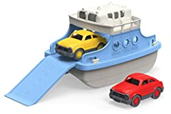 Made in the USA from 100% recycled plastic Safe and durable for indoor and outdoor play No BPA, phthalates, PVC, or external coatings Dishwasher safe for easy cleaning This 3 piece set includes the Ferry Boat and 2 Mini Cars