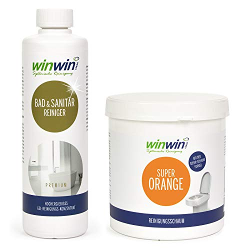 winwinCLEAN Set: Super Orange Reinigungsschaum/WC-Schaum 1kg + Bad & Sanitärreinger 500ml