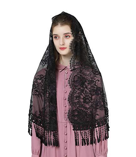 BEAUTELICATE Mantilla De Encaje Española Mujer Velo de Capilla Católica Chal Estola Con Flecos Pañuelo Bufanda Bordado