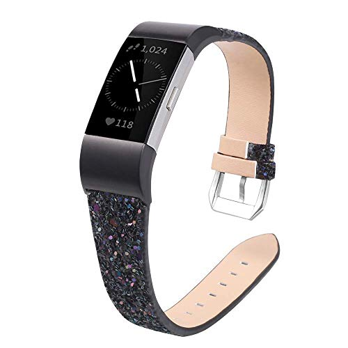 Myada Kompatibel mit Armband Fitbit Charge 2 Damen Glitzer Leder,Armbänder Fitbit Charge2 Band Lederarmband Fitbit Charge 2 Ersatzband Uhrenarmband Charge 2 Sport Fitness Zubehör für Fitbit Charge 2