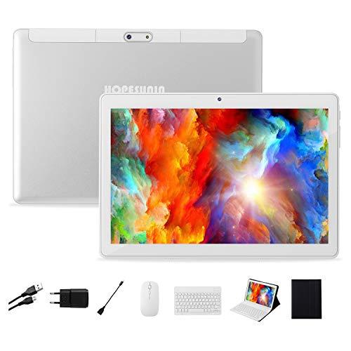 HOPESUNIN Tablet Android da 10,0 pollici con sistema operativo Android 9 Pie, certificazione gsm ROM-Google da 4 GB RAM + 64 GB ROM, tablet ultra sottile 8000 mAh   5 MP + 8 MP   Tipo C (white)