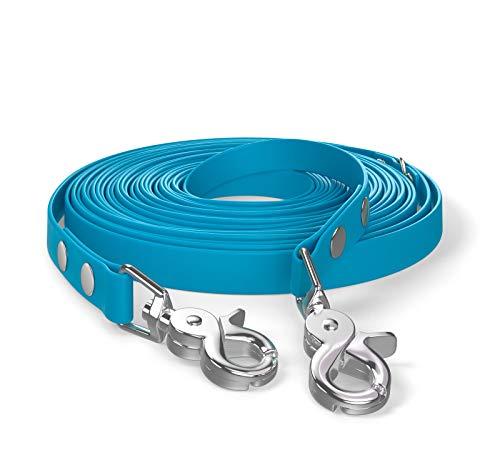 SNOOT 10m de Correa de Remolque, Correa de Perro, 2 mosquetones y Anillo D, Azul Cian, Muy Estable, Repelente a la Suciedad y al Agua.