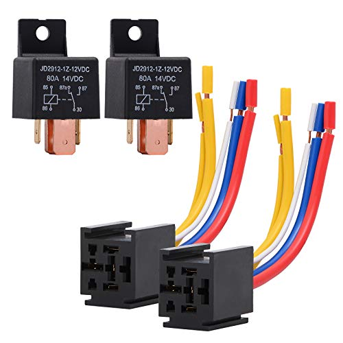 EHDIS 2 Pack Car Relay Truck Motor Heavy Duty 5-Pin 80A 12V Relay On/Off Normally Open SPDT Relay Socket Plug 5 Wire Automotive JD2912-1Z-12VDC 80A 14VDC