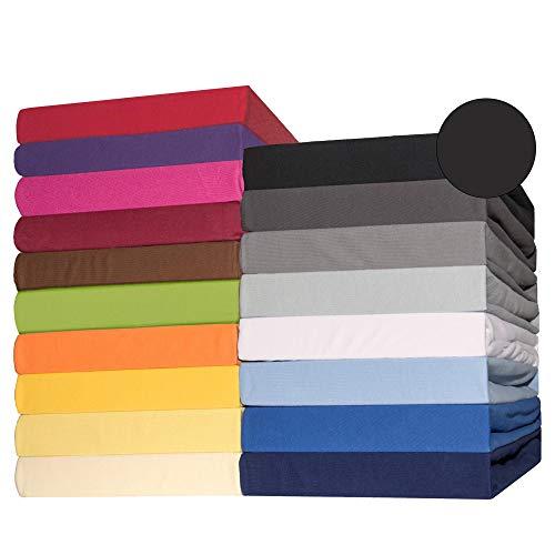 #9 CelinaTex Lucina Jersey Spannbettlaken, Spannbetttuch, Bettlaken, 180x200 – 200x200 cm, Schwarz