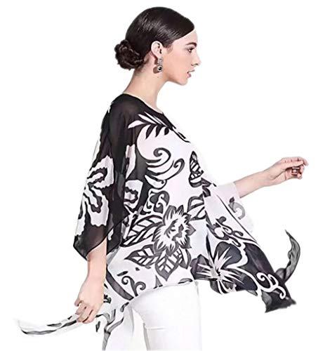 prettystern Damen Seiden-Tunika Chiffon Poncho Sommer Bluse Strandkleid Überwurf abstrakte Kunst Schwarz