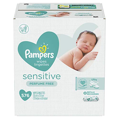 Pampers Baby Wipes Sensitive Perfume Free 8X Refill Packs (Tub Not Included) 576...