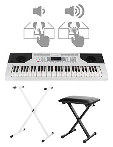 FunKey 61 Edition Touch Keyboard Set - 61 Tasten - Touch Response - 300 Sounds & 300 Rhythmen - Begleitautomatik und Lernfunktionen - inkl. X-Stativ und Hocker - weiß