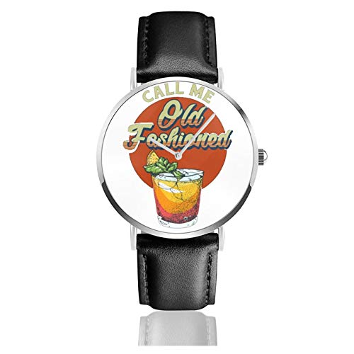 Vintage Call Me Old Fashioned Whiskey Cocktail Men Wrist Watches Genuine Leather For Gents Teenagers Boys