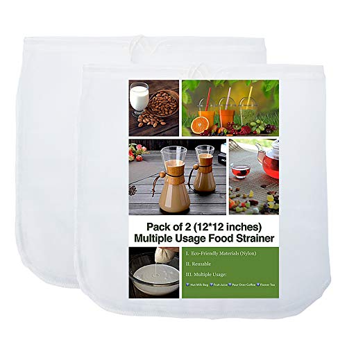 2 Pack - 80 Micron Nut Milk Bag - 12X12 Inches - Multiple Usage Reusable Food Strainer, Cold Brew Coffee Bag, Food Grade Nylon Mesh, BPA-Free, Cheesecloth Bag, Yogurt Strainer, Juice Filter
