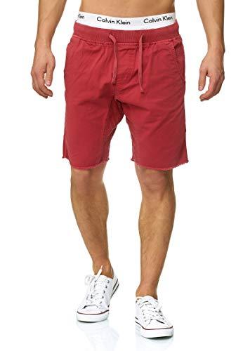 Indicode Herren Carver Chino Shorts aus 100% Baumwolle | Kurze Hose Regular Fit Bermudas Sommerhose Knielang Herrenshorts Destroyed Short Men Pants Chinohose kurz für Männer Vermillion M