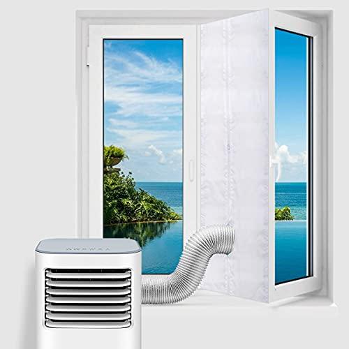 testyu 400CM Guarnizione Universale per Finestre per Condizionatore Portatile e Asciugatrice, Facile da Montare Con zip e Chiusura a Strappo Per Tutti Climatizzatori Mobili