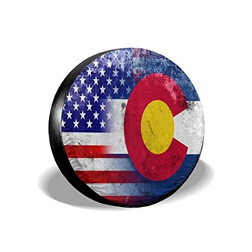 Hokdny Copri Ruota di Scorta Bandiera degli Stati Uniti E del Colorado Copri Pneumatici Universali Antipolvere Impermeabili