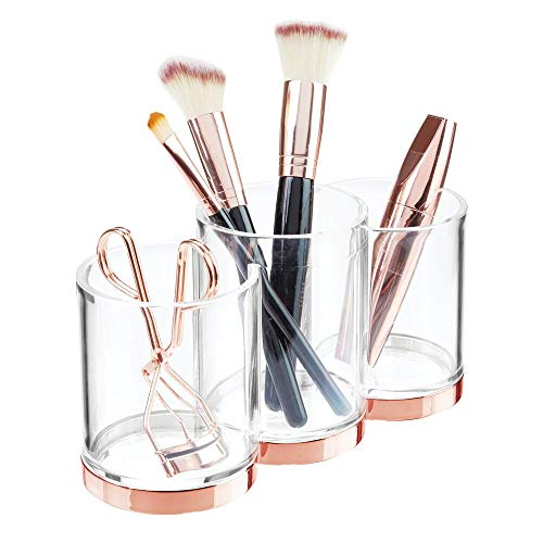 mDesign Plastic Makeup Organizer Storage Cup with 3 Sections for Bathroom Vanity Countertops or Cabinet: Stores Makeup Brushes, Eye and Lip Pencils, Lipstick, Lip Gloss, Concealers - Clear/Rose Gold