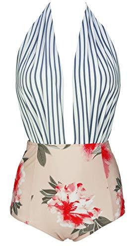 COCOSHIP Slategray White Stripe & Pink Red Floral One Piece Backless Bikini Bather Swimsuit High Waist Swimwear Monokini XXL(US12)