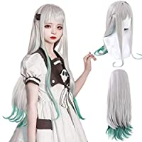 Wig Cap+Long Straight Cosplay Wig Silver Gray and Blue Wigs for Anime Party Wig