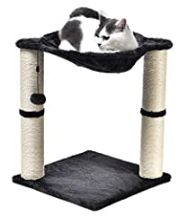 Elevated cat hammock with dual scratching post pillars Plush hammock provides a comfortable space for your cat to relax Helps keep your cat from damaging carpets, furniture, curtains, and more Natural jute fiber scratching posts help keep nails healt...