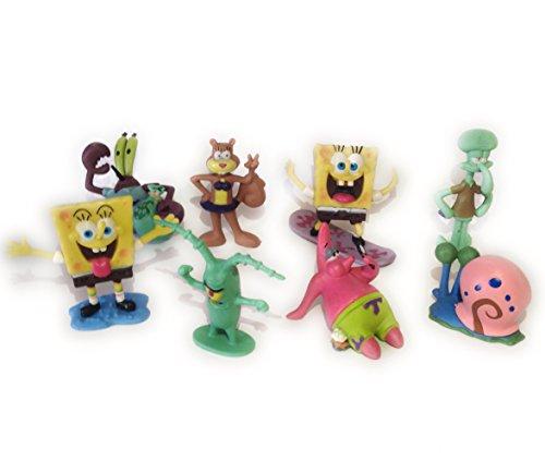 SpongeBob SquarePants 8 Piece Play Set with 8 SpongeBob Figures Featuring Squidward Sandy Cheeks Patrick Star Mr Krabs Plan Multicoloured 1pac