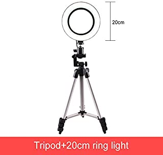 YAYONG Dimmable LED Ring Light 16cm Photography Selfie Stick LED Makeup Ring Lamp with Tripod USB Plug for Live Stream Video