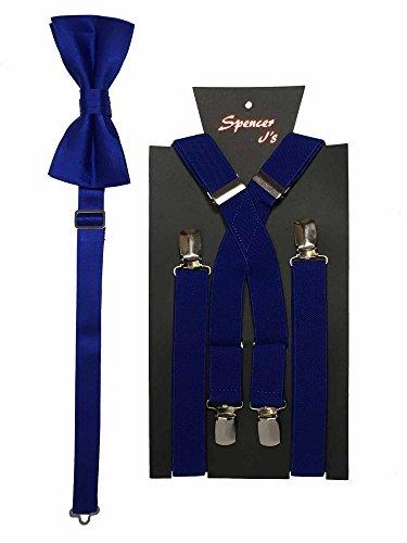 Spencer J's Men's X Back Suspenders & Bowtie Set Verity of Colors (Royal)