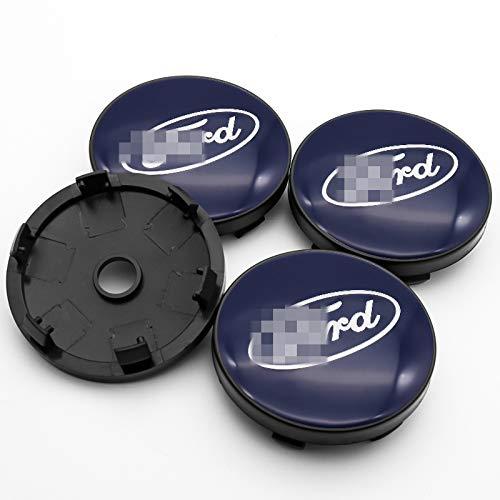 Autozubehör 4 Stück 60mm Auto-Rad-Mitte Rim Hub-Kappen und Aufkleber für Ford- Mustang Explorer Fiesta Focus...