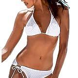 Inlefen Bikini Conjunto de triángulo de Red para Mujer Traje de baño Traje de baño de Dos Piezas de Encaje Espesar Bañador(Blanco-XL)