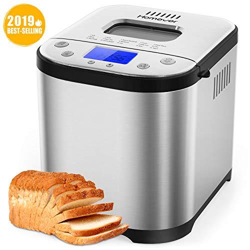 Brotbackautomat | Homever Brotbackmaschine mit Timer | aus Edelstahl | Programmierbar 15 Backprogramme | 3 Größeneinstellung und Bräunungsstufen | Warmhaltefunktion | Silber