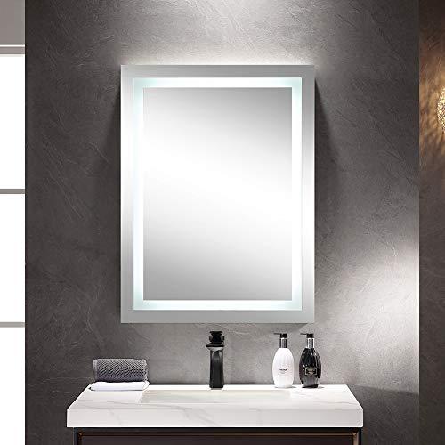Aiboria Espejo de baño con LED, espejo de baño rectangular, espejo de baño con iluminación blanca fría, espejo de pared impermeable IP67 para el maquillaje personalizado 50 x 70 cm (estilo 1)