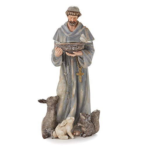 The Lakeside Collection Saint Francis Figurine Garden Accent Statue for Outdoor Landscaping