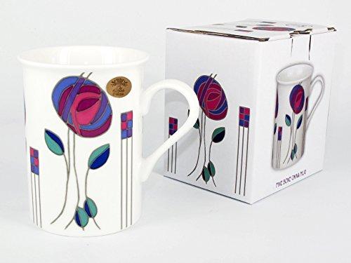 Tasse und Untersetzer, Mackintosh-Design, Violett, Geschenkset