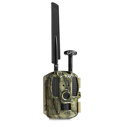 4G APP GPS Wildkamera,MMS/Email Beutekameras,HD 1080P 12MP Jagdkamera,Wasserdichte 52PCS LED 950NM Infrarot-Nachtsicht Bis Zu 65FT,Triggerzeit 0.6S,2,0LCD-Display Waldjagdkamera Mit 16G Speicherkarte