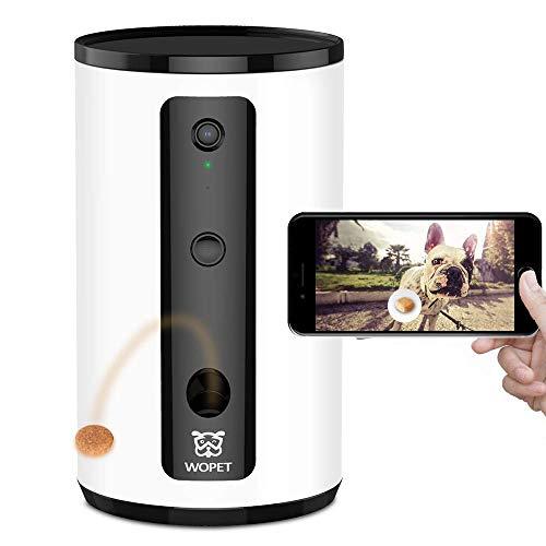 WOPET Leckerli-Spender-Kamera, Full HD WiFi Kamera mit Nachtsicht für Haustier Monitor View, Zwei-Wege-Audio-Kommunikation für Hunde Katzen Haustiere