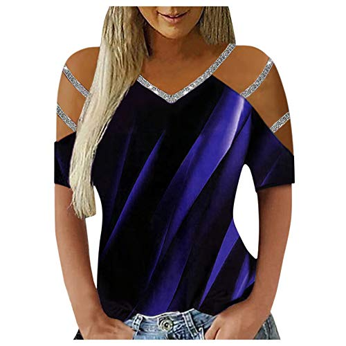 Julhold Camicetta per le donne Casual Beam Proiezione Contrasto Stampa V-Neck Manica Lunga T Shirt Donna, Viola (maniche corte)., XXL
