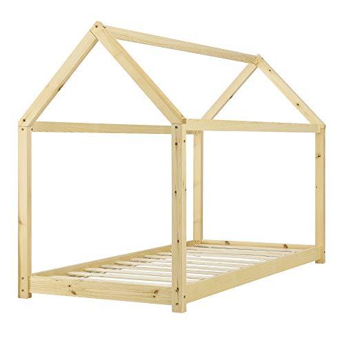 [en.casa] Lit Enfant Design Maison Cadre Structure Lit Bois Blanc Cabane 206 x 98 x 142 cm Couleur Bois Naturel