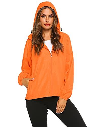 Zeagoo New fashion Waterproof Climbing Running Outdoor Hoodie Coat Sport Cycling Jacket,X-Large,Orange
