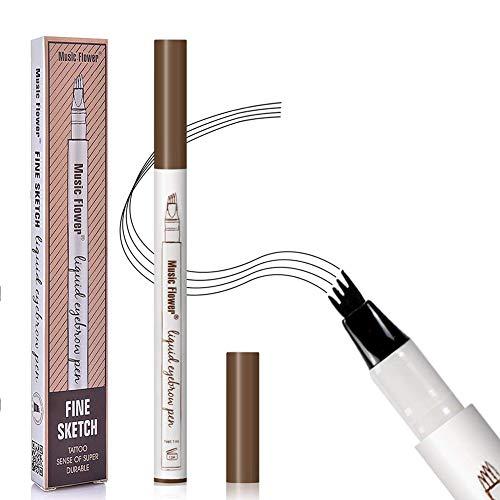 Augenbrauenstift,Augenbrauenstift Wasserfest,Waterproof Microblading Eyebrow Pen mit Tips Wasserfester Langenhaltend für Natürlich Augenbrauen Schminke(Braun)