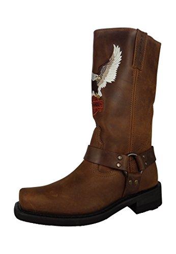 Harley Davidson Stivali Biker Boots D93216 Darren Engineerstiefel Brown Brown, Taglia:46