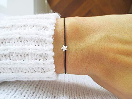 Armband mit Sternchen 925er Sterlingsilber Personalisiert | Sternenkind Sternenpapa | Schwarz